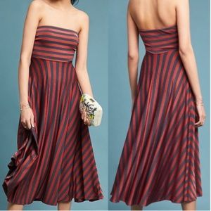 Maeve Copper Stripe Penny Strapless Midi Dress
